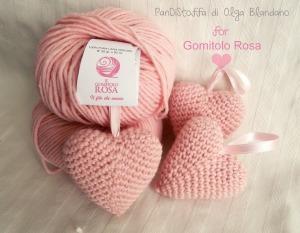I cuori di Olga Blandano con  il Gomitolo Rosa